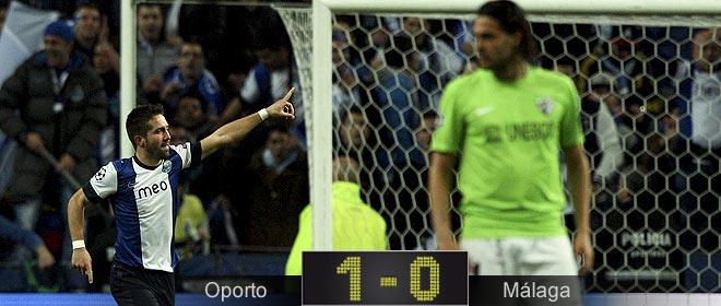 El Málaga, en el peor partido en Champions, naufraga en Oporto