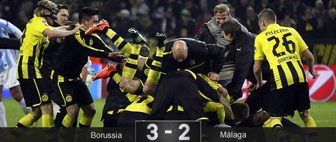 El Borussia y el árbitro arrancan al Málaga del sueño europeo en un final trágico