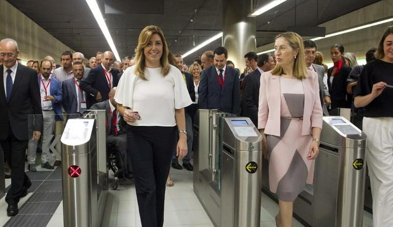 Díaz y Pastor estrenan el Metro de Málaga: ni wifi, ni mamparas… y 5 manifestaciones